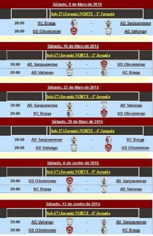Calendário da 2ª fase do nacional de juvenis - HC Braga presente